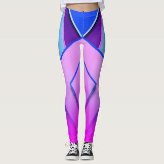 ユニークで、かわいく青い紫色のピンクのラベンダーのレギンス レギンス