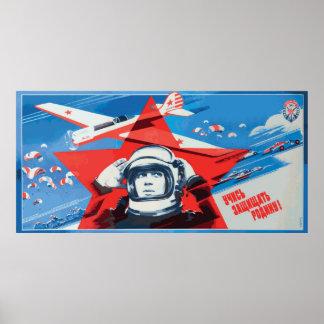 ユニークで、カラフルな60年代時代のソビエト宇宙飛行士ポスター ポスター
