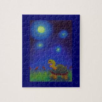 ユニークなかわいいおもしろいの芸術を引いている幸せな歌うカメ ジグソーパズル
