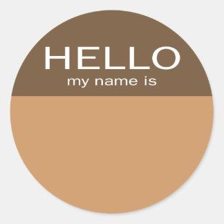 ユニークなこんにちはは私の名前-コーヒーチョコレートです ラウンドシール