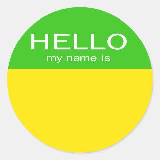 ユニークなこんにちはは私の名前-レモンライムです ラウンドシール