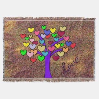 ユニークなカラフルな愛ハートの木 スローブランケット