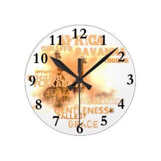 ユニークなキリンの円形の(中型の)柱時計 ラウンド壁時計