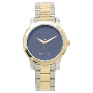 ユニークなギフトの男性への濃紺のツートーン腕時計 腕時計