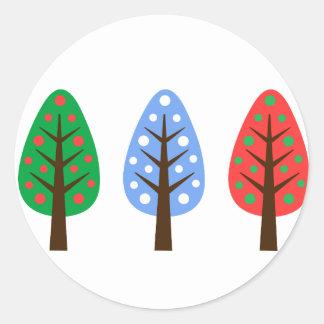 ユニークなクリスマスツリーの青緑の赤いステッカー ラウンドシール