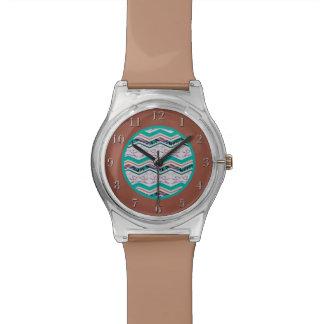 ユニークなターコイズおよびブラウンの鳥のジグザグパターン 腕時計
