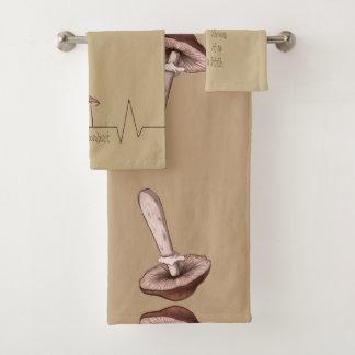 ユニークなデザインのきのこタオル バスタオルセット
