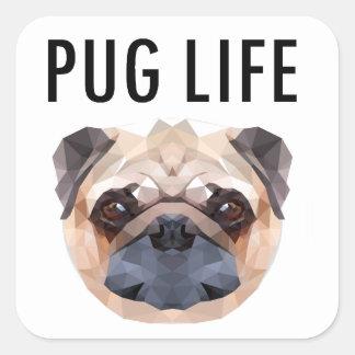 ユニークなパグのデザイン犬 スクエアシール