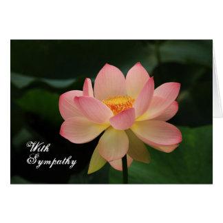 ユニークなピンクのはす花の仏教の悔やみや弔慰 カード