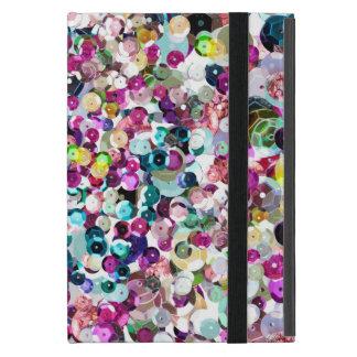 ユニークなピンクのターコイズの模造のなスパンコールの輝きのプリント iPad MINI ケース