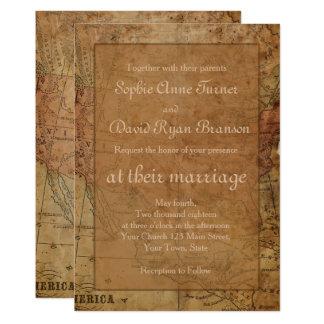 ユニークなヴィンテージの地図の行先の結婚式招待状 カード