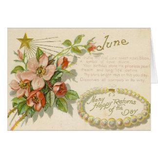 ユニークなヴィンテージの6月の誕生日の挨拶状 カード