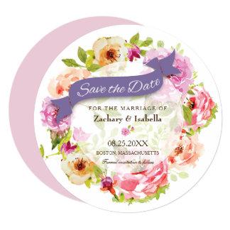 ユニークな水彩画の花の保存日付の招待状 カード