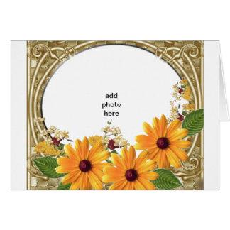 ユニークな花フレームの挨拶状 カード