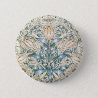 ユリおよびザクロのヴィンテージの花の芸術のデザイン 缶バッジ