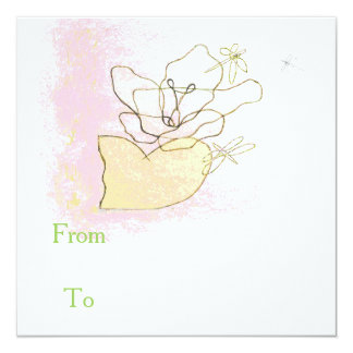 ユリおよびトンボが付いている正方形のピンクの招待 カード