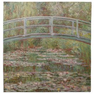 ユリの池の印象派上のMonet橋 ナプキンクロス