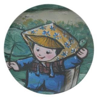 ユリの池の台湾の女の子 プレート