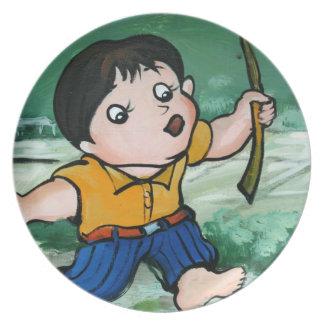 ユリの池の台湾の男の子 プレート