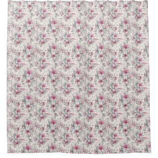 ユリの白い藤色の淡いピンクの花柄 シャワーカーテン
