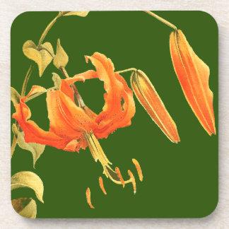 ユリの花柄の花のコルクのコースター コースター