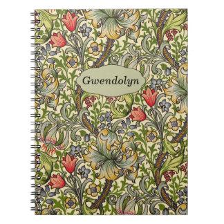 ユリのMorrisのヴィンテージの花の名前入りなモノグラム ノートブック