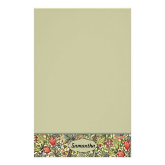 ユリのMorrisのヴィンテージの花の名前入りなモノグラム 便箋