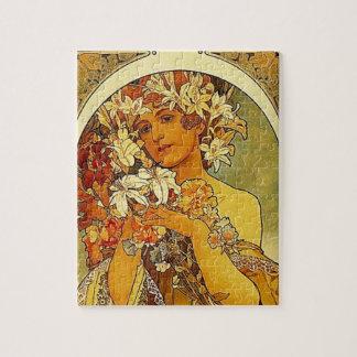 ユリを持つミュシャのアールヌーボーの女性 ジグソーパズル