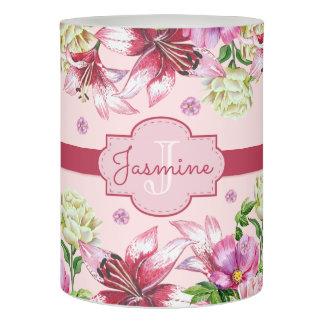 ユリ及びシャクヤクの花柄のピンク LEDキャンドル