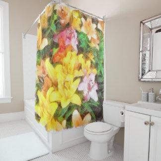 ユリ愛およびライト水彩画 シャワーカーテン
