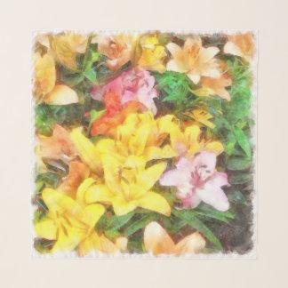 ユリ愛およびライト水彩画 スカーフ