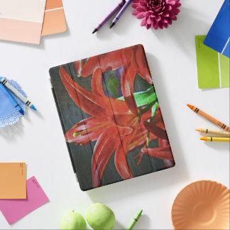 ユリ織り目加工赤 iPadスマートカバー