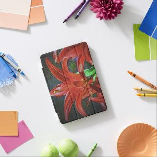 ユリ織り目加工赤 iPad MINIカバー