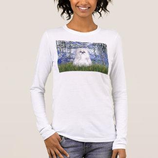 ユリ#6 -シーズー(犬)のtzu (白い) 長袖Tシャツ