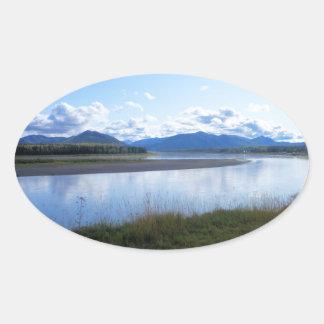 ユーコン川アラスカ 楕円形シール