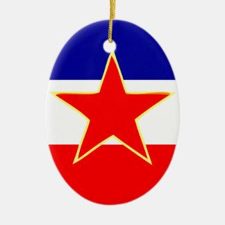 ユーゴスラビアの旗 セラミックオーナメント