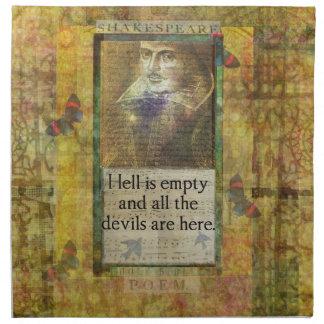 ユーモアのあるなシェークスピアの引用文の芸術の単語 ナプキンクロス
