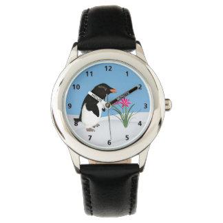 ユーモアのあるなペンギンおよびピンクの花 腕時計