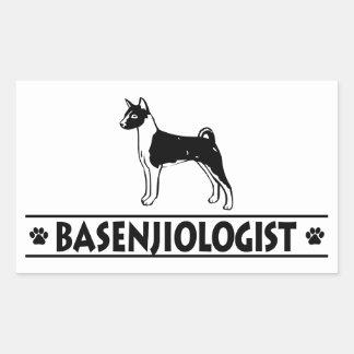 ユーモアのあるなBASENJI犬 長方形シール