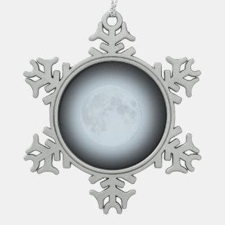 ユール(キリスト降誕祭)のための満月のオーナメント スノーフレークピューターオーナメント