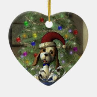 ユール(キリスト降誕祭)の子犬のハートのオーナメント 陶器製ハート型オーナメント