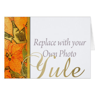 ユール(キリスト降誕祭)の金ゴールドののどのエンボスのポインセチア及び家族写真 カード