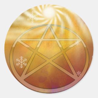 ユール(キリスト降誕祭)日曜日の暖かさを祝って下さい ラウンドシール