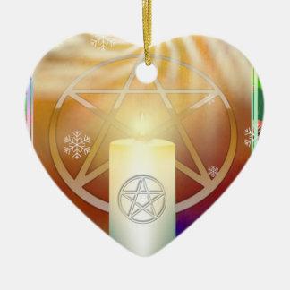ユール(キリスト降誕祭)日曜日の暖かさを祝って下さい 陶器製ハート型オーナメント
