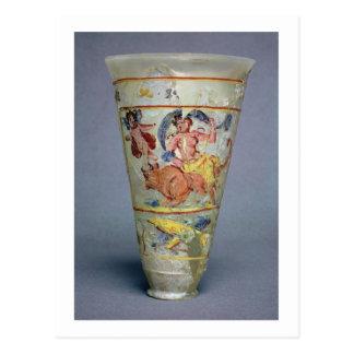 ユーロパを描写する色彩の鮮やかな装飾が付いているつぼ ポストカード