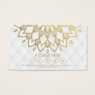 ヨガのクラスのパスの金ゴールドの曼荼羅の花の白革 名刺