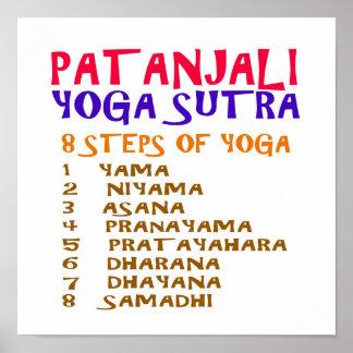 ヨガのチェックリスト: PATANJALI SUTRAの8つのステップ ポスター