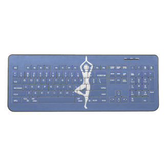 ヨガの姿勢のシルエットの無線電信のキーボード ワイヤレスキーボード