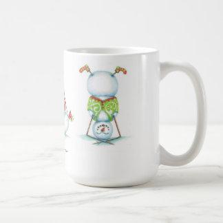 ヨガの雪だるまのクリスマスのコーヒー・マグ コーヒーマグカップ