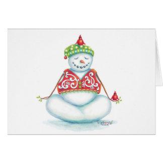 ヨガの雪だるまのクリスマスカードのスカンジナビア人の眼識 カード